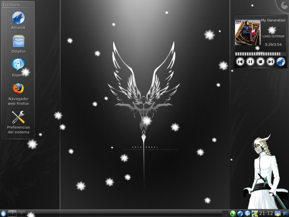 Escritorio DIciembre KDE con nieve XD