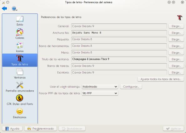 Tipos de letra en KDE.