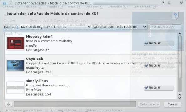 Descargando e instalando un tema KDM4.
