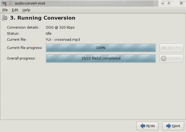 Convirtiendo archivos de audio.