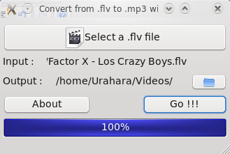 Convirtiendo un video flv a audio en mp3.
