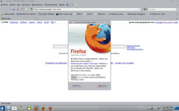 Firefox 3.5 Beta 4.