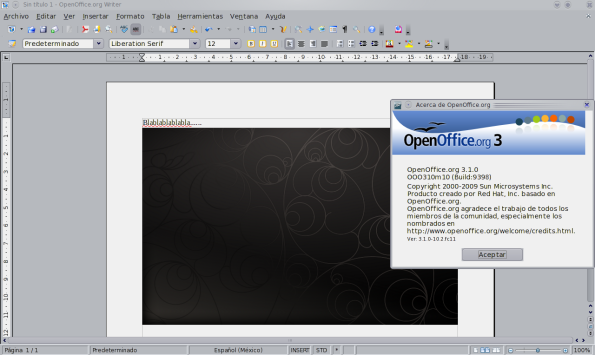 OpenOffice 3.1 - Fedora 11 Preview.