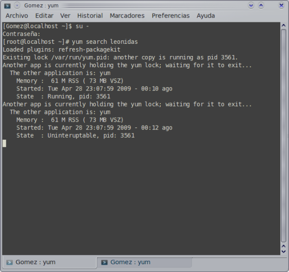 Yum, procesos - Fedora 11 Preview.