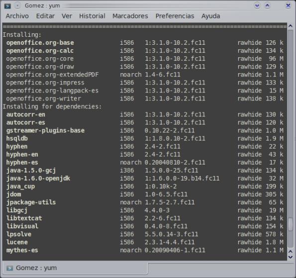 Yum, instalando paquetes - Fedora 11 Preview.