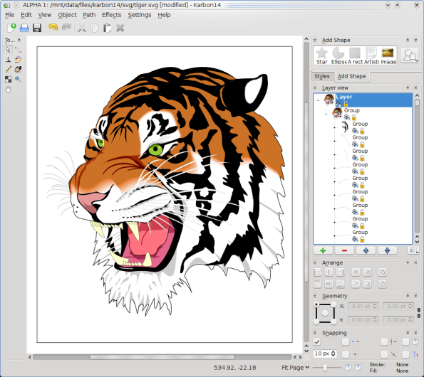 KOffice 2.0.0 - Karbon SVG Tiger.