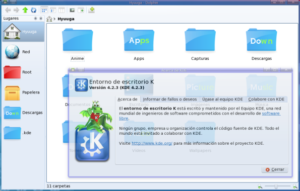 KDE 4.2.3 en Fedora 10.