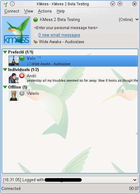 KMess - Lista de contactos.