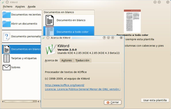 KOffice 2.0.0 en KDE 4.3 Beta 1.