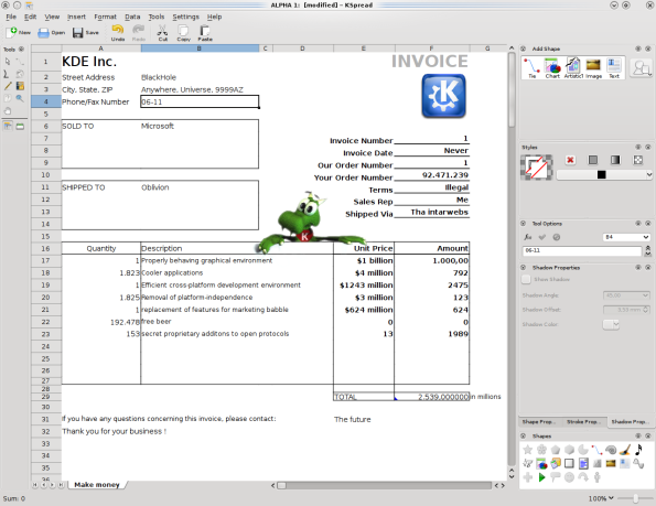 KOffice 2.0.0 - KSpread Invoice.