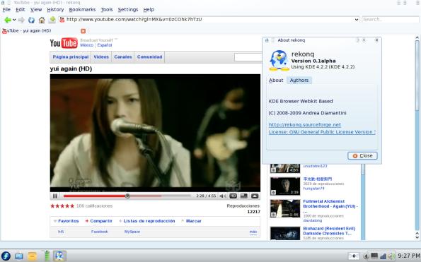 Rekonq 0.1 Alpha - Vídeos flash.