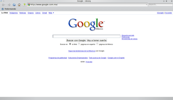 Rekonq 0.1 Alpha - Navegando por google.
