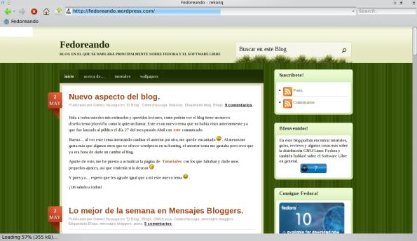 Rekonq 0.1 Alpha - Navegando por el blog.