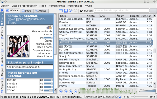 Amarok 1.4 en Fedora 11 Leonidas.