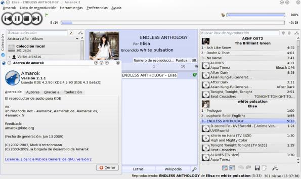 """Amarok 2.1.1 """"Oceania"""" en Fedora 11 Leonidas."""