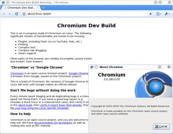 Chromium en Fedora 11.