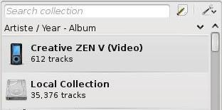 Amarok 2.1 - Navegador de colecciones.