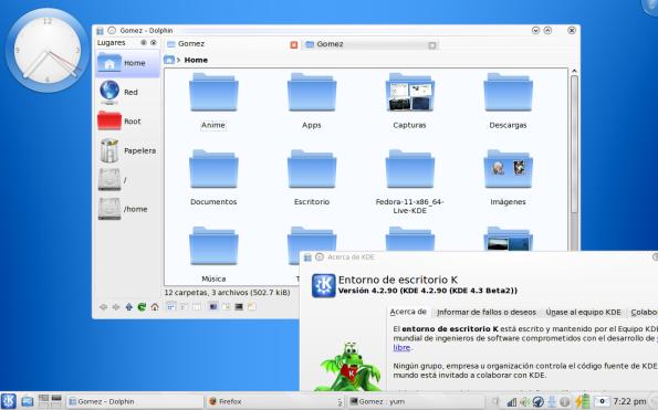 KDE 4.3 Beta 2 (4.2.90) en Fedora 11 Leonidas.
