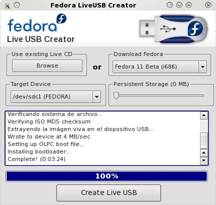 Fedora 11 Live USB Disk creado.
