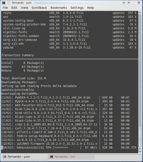 Fedora 11 Leonidas - Yum Presto.