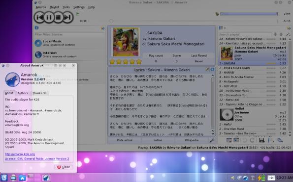 Amarok 2.2-GIT en Fedora 11 Leonidas.