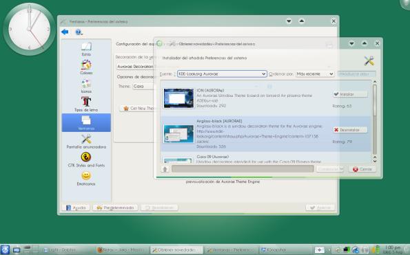 Aurorae 0.2 en KDE 4.3.0.