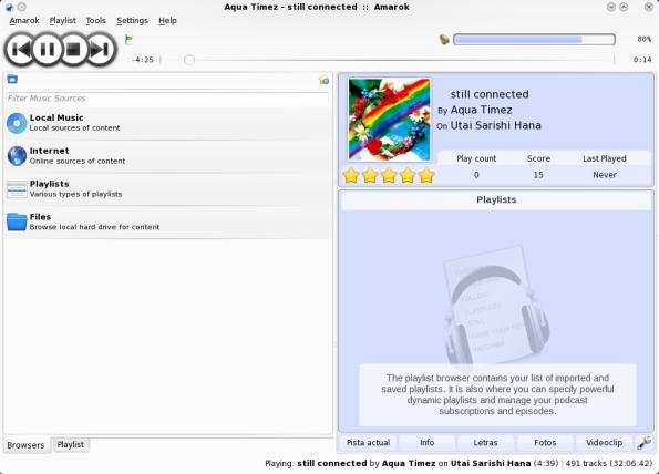 Amarok 2.2-GIT - Categorías: Colección, Internet, Playlists....