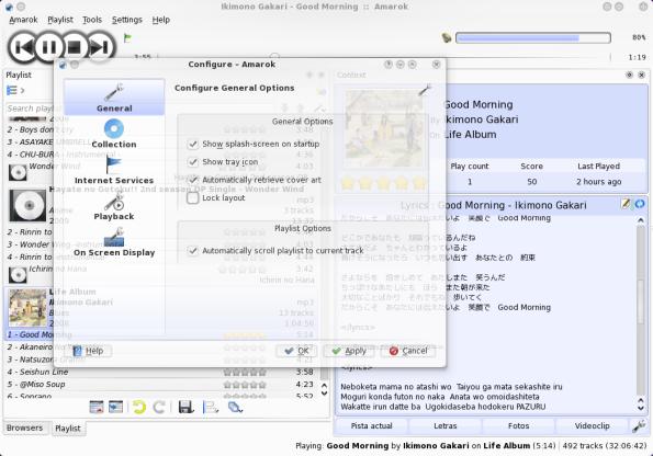 Amarok 2.2-GIT - Opciones.