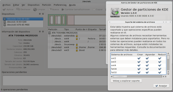 KDE Partition Manager 1.0 en Fedora 11 Leonidas.