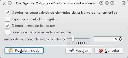 Opciones de Oxygen.