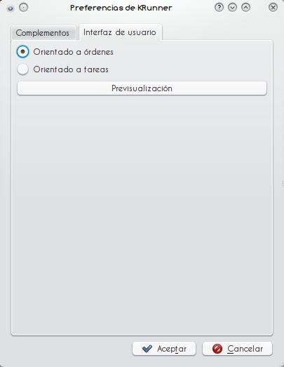 Cambiando el modo de la interfaz de KRunner...