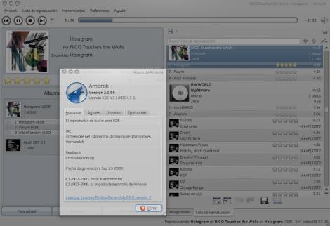 """Amarok 2.2 RC1 """"Sunset Door"""" en F11."""